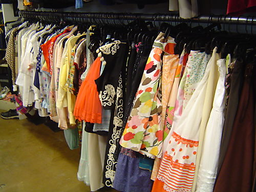 lots of vintage clothes at Hollywood regency