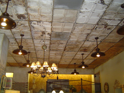 gorgeous antique tin tile ceiling!